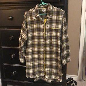 DKNY flannel boyfriend night sleep shirt, sz. L